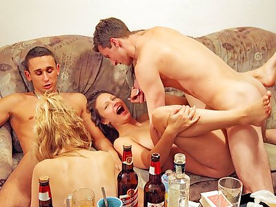 Gonzo school girl anal invasion orgy at school bash