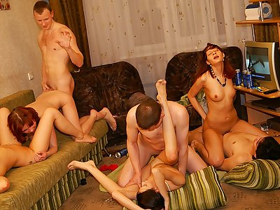 Sexy and warm college girl soiree orgy vid