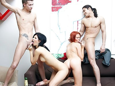 Incredible soiree lovemaking vignette with a insatiable red-haired