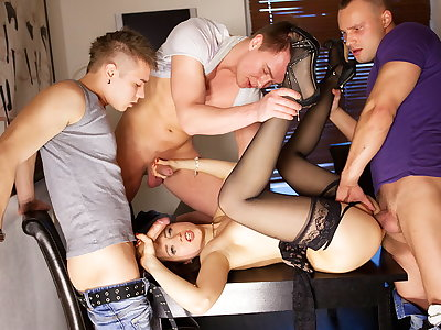 Group sex porn activity for slim Taissia-Shanti