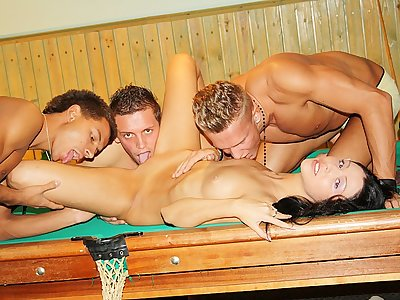 Dark haired penetrated stiff on the pool table